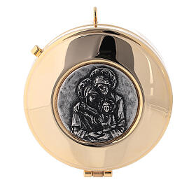 Pyx case in red jacquard fabric with golden brass pyx Holy Family s3