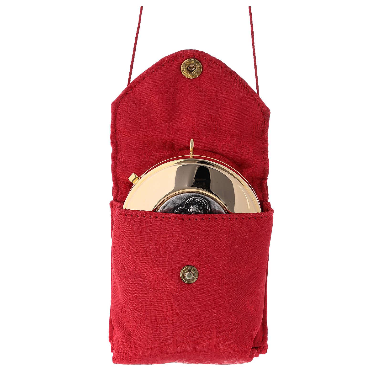 Estuche jacquard rojo relicario para hostias latón dorado Sagrada Familia 3