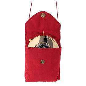 Estuche jacquard rojo relicario para hostias latón dorado Sagrada Familia s2
