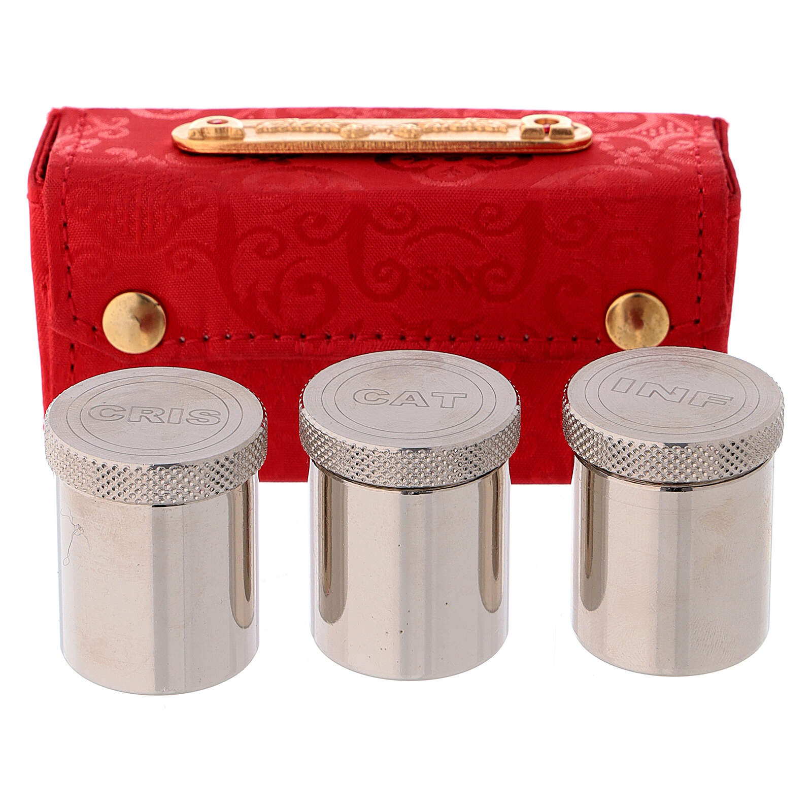 Holy Oils case in red jacquard fabric with three jars 3