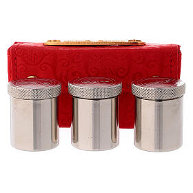Holy Oils case in red jacquard fabric with three jars s1