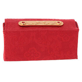 Holy Oils case in red jacquard fabric with three jars s5