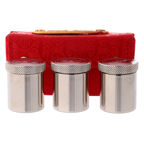 Holy Oils case in red jacquard fabric with three jars 1