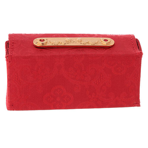 Holy Oils case in red jacquard fabric with three jars 5