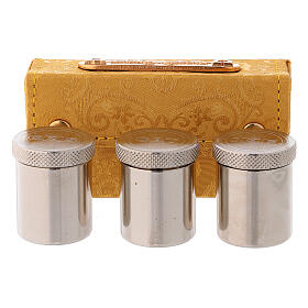 Holy Oils case in golden jacquard fabric with three jars s1