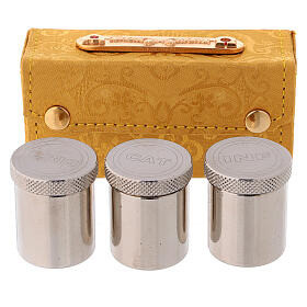 Holy Oils case in golden jacquard fabric with three jars s3