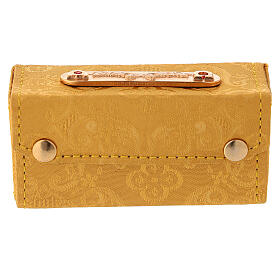 Holy Oils case in golden jacquard fabric with three jars s5