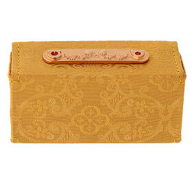 Holy Oils case in golden jacquard fabric with three jars s6