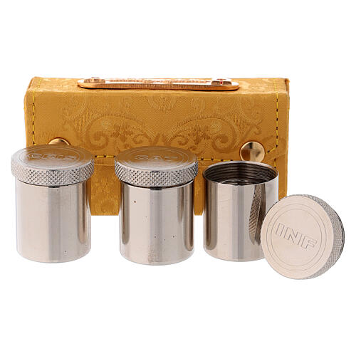 Holy Oils case in golden jacquard fabric with three jars 2