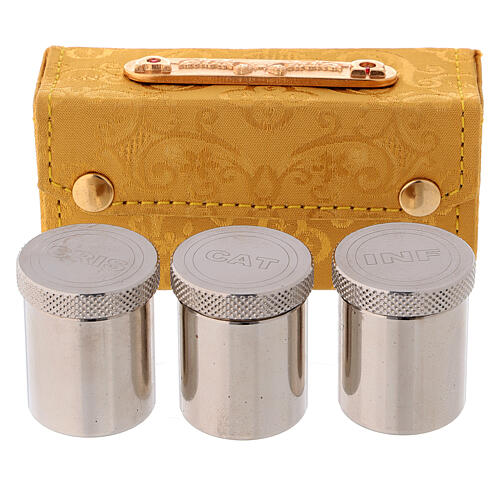 Holy Oils case in golden jacquard fabric with three jars 3