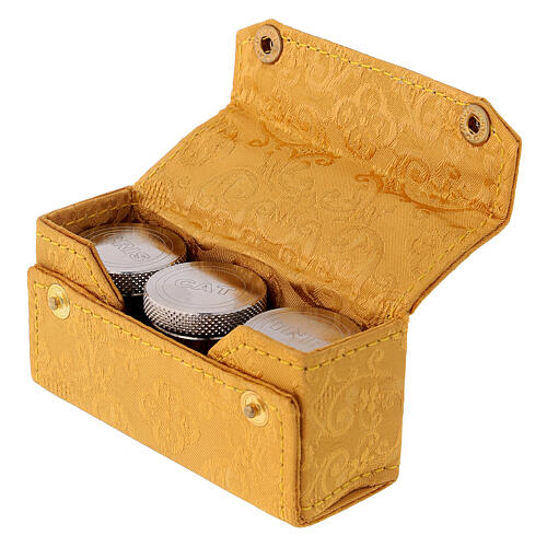 Holy Oils case in golden jacquard fabric with three jars 4