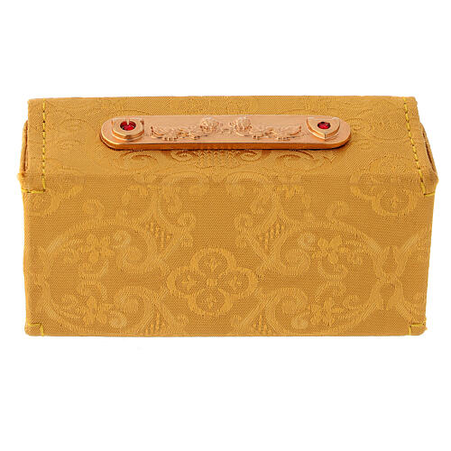 Holy Oils case in golden jacquard fabric with three jars 6