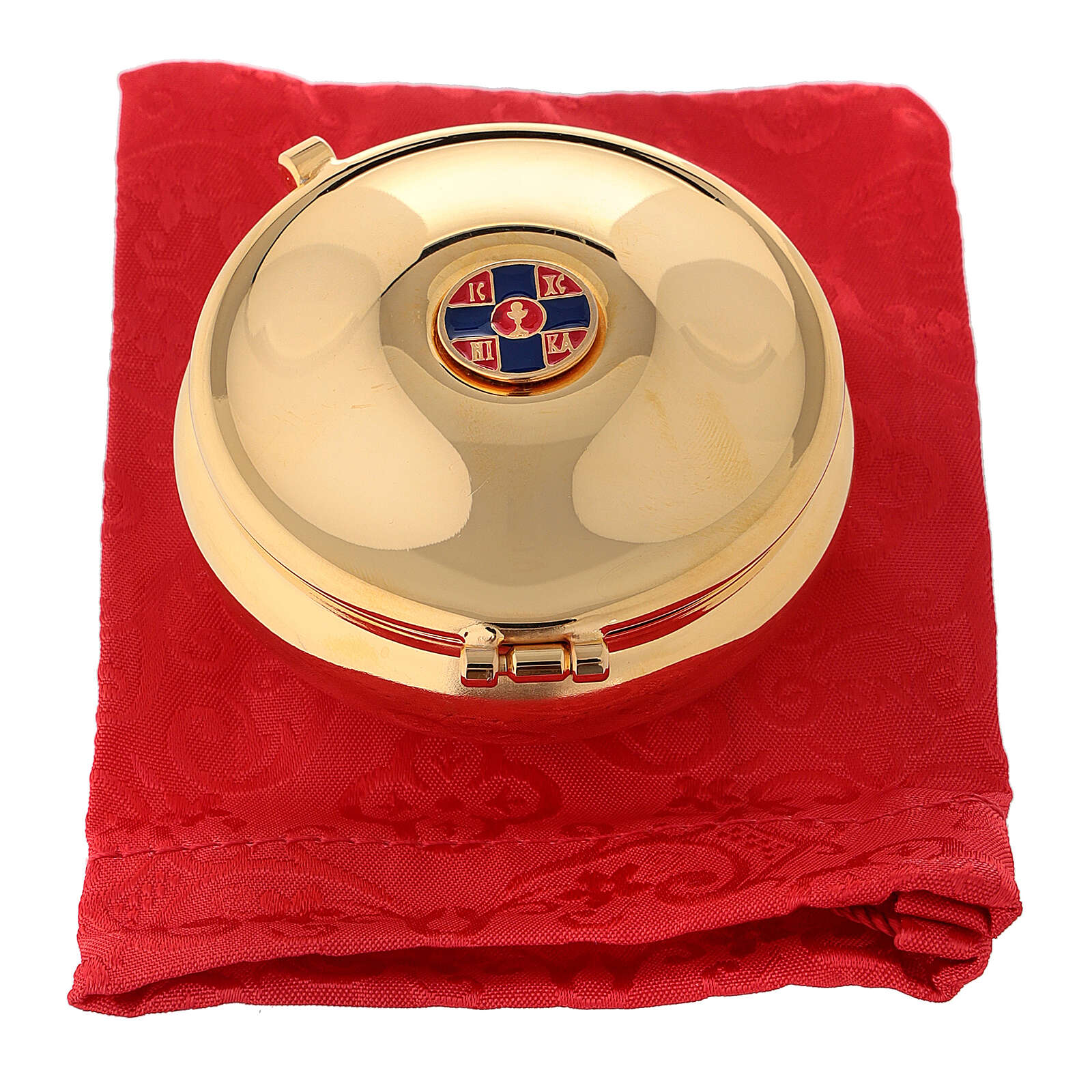 Enamelled gold plated pyx with cross and red burse 3