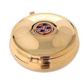 Enamelled gold plated pyx with cross and red burse s1