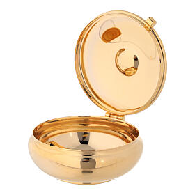 Enamelled gold plated pyx with cross and red burse s3