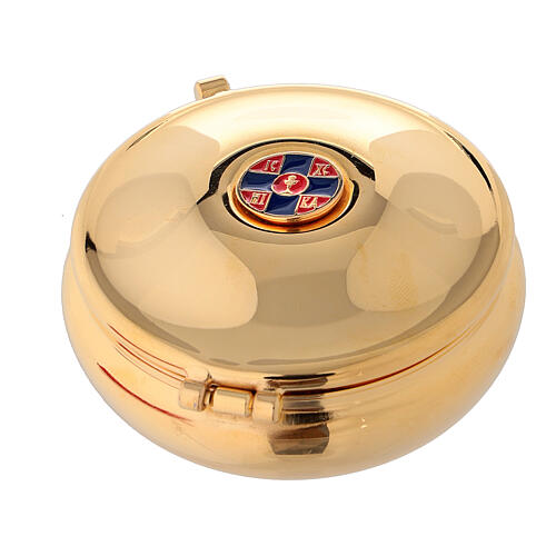 Enamelled gold plated pyx with cross and red burse 1