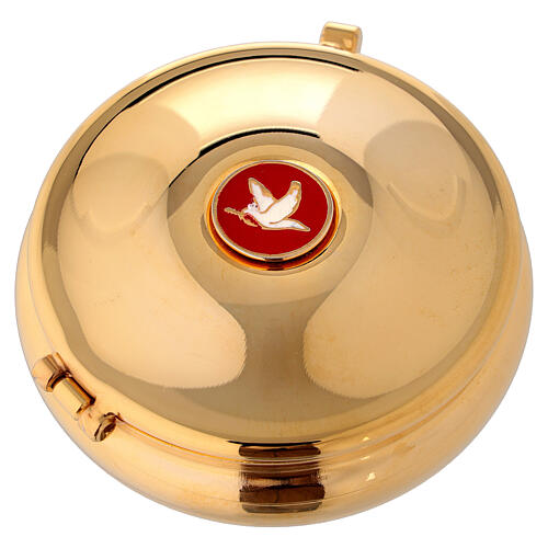 Pyx with enamel dove and red bag 1