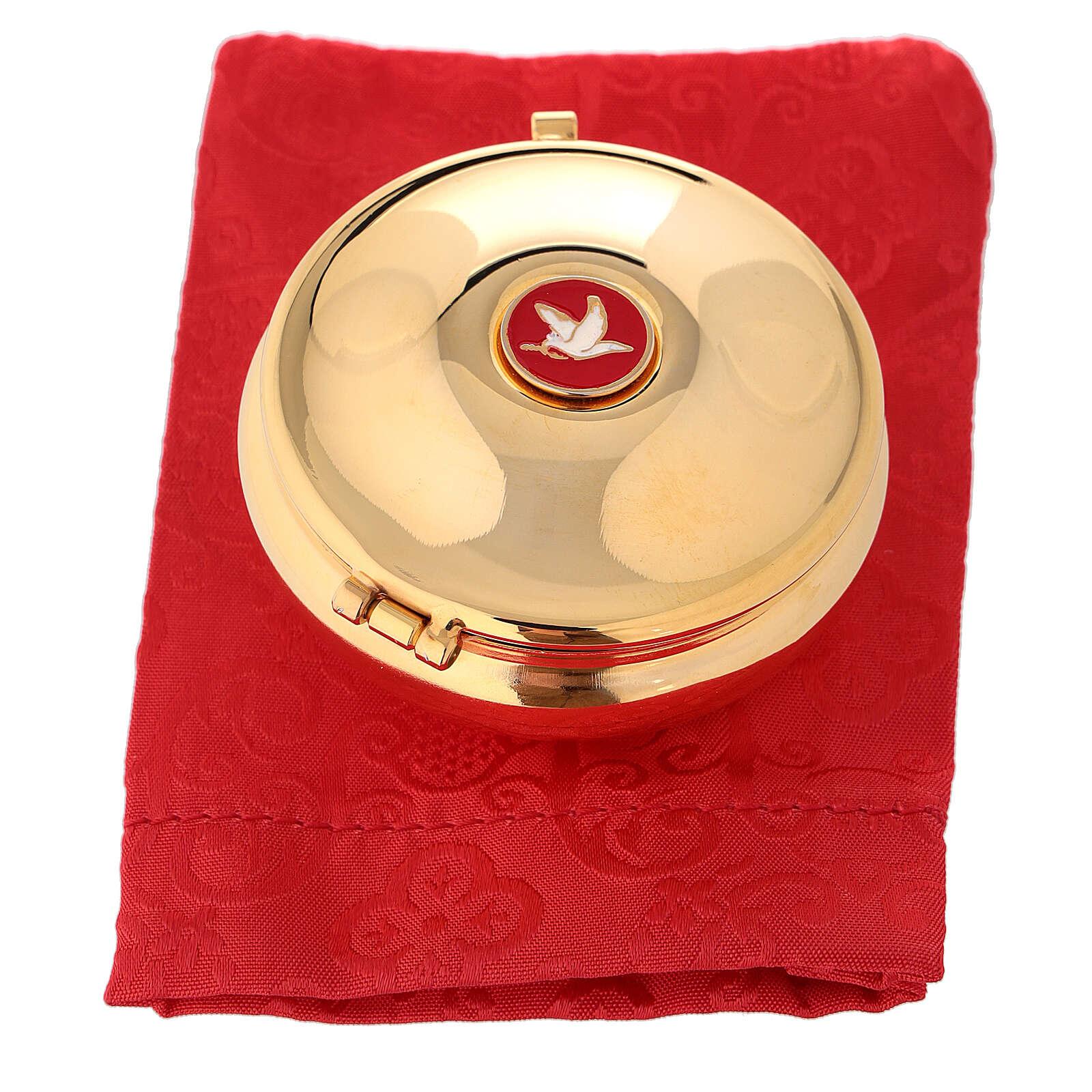 Relicario dorado con paloma esmaltada y saco rojo 3