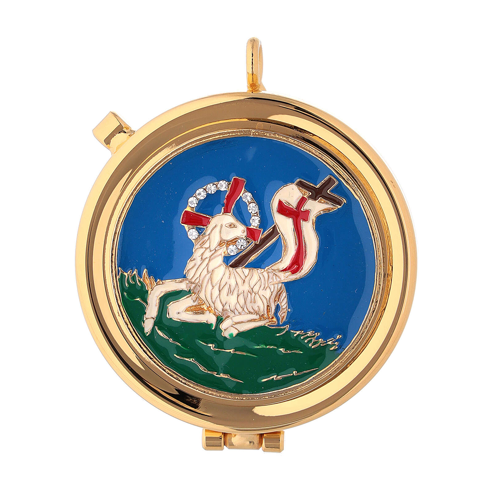 Gold plated pyx with Lamb of God on blue enamel with crystals 2 in 3