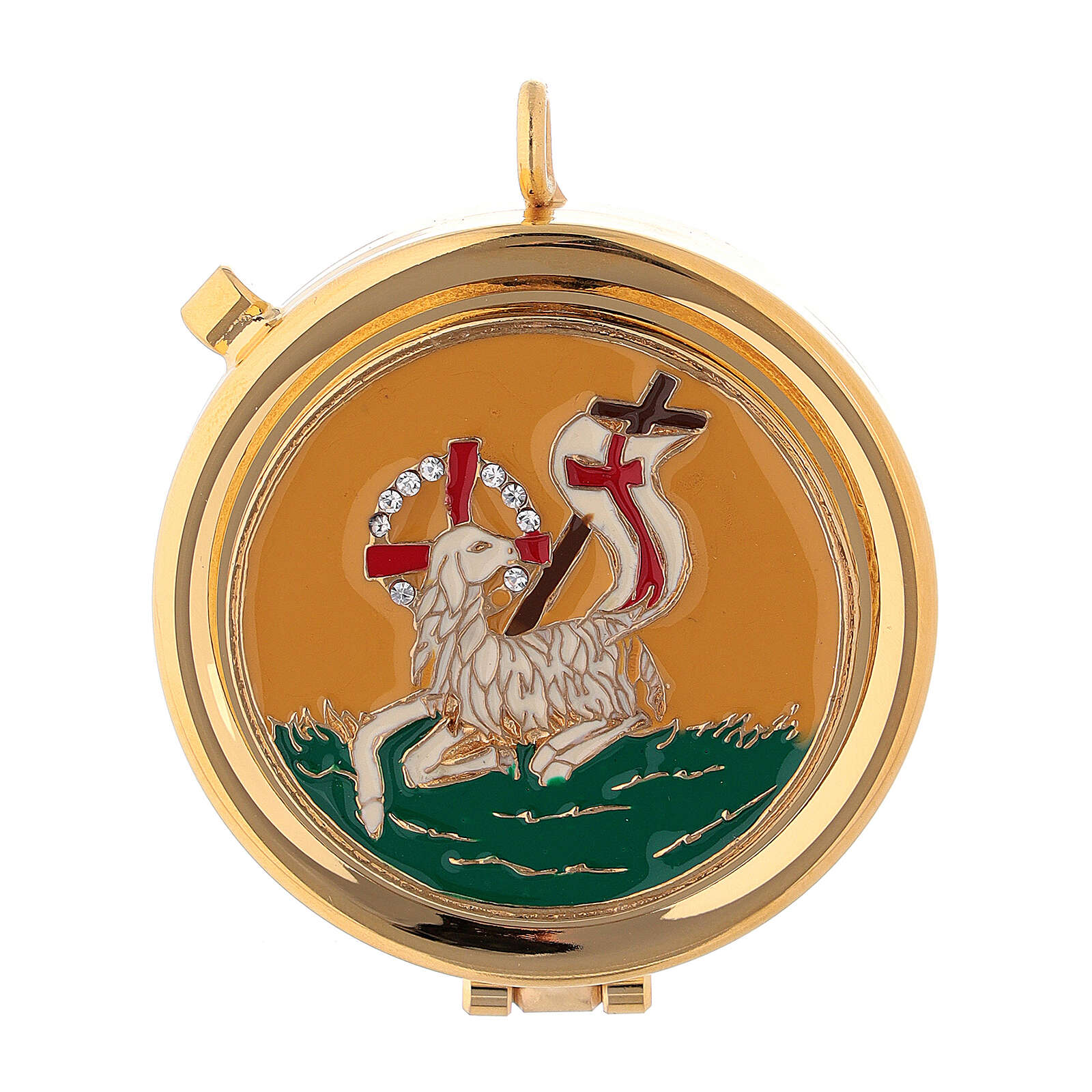 Eucharist case in brass with enamel Lamb of Peace, yellow and beads 5.3 cm 3
