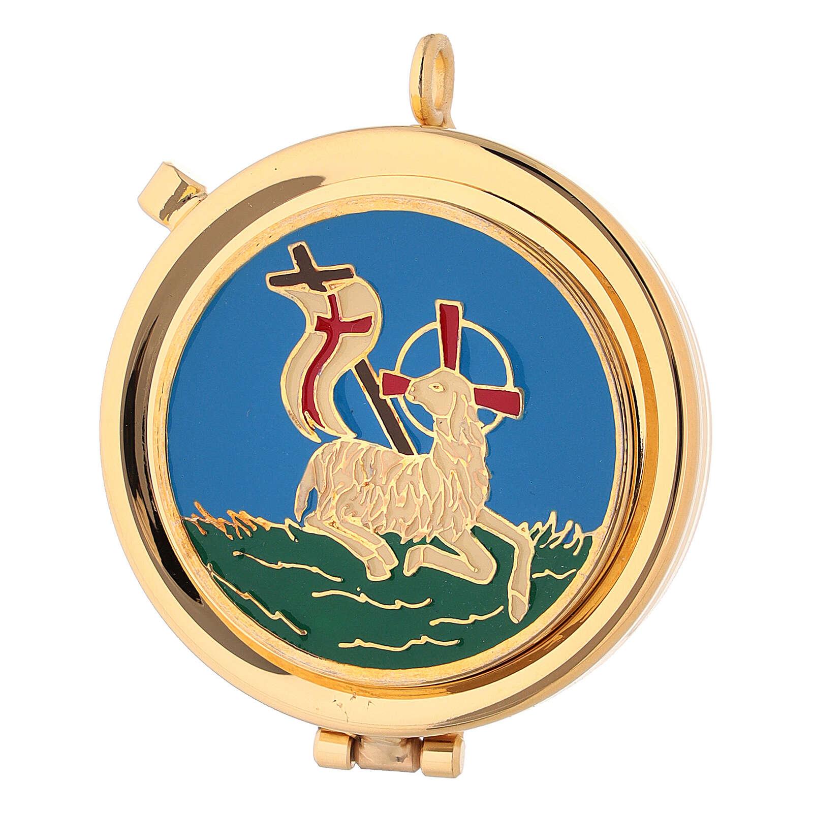Custode à hosties dorée avec Agneau de la Paix émaillé bleu 5,3 cm 3