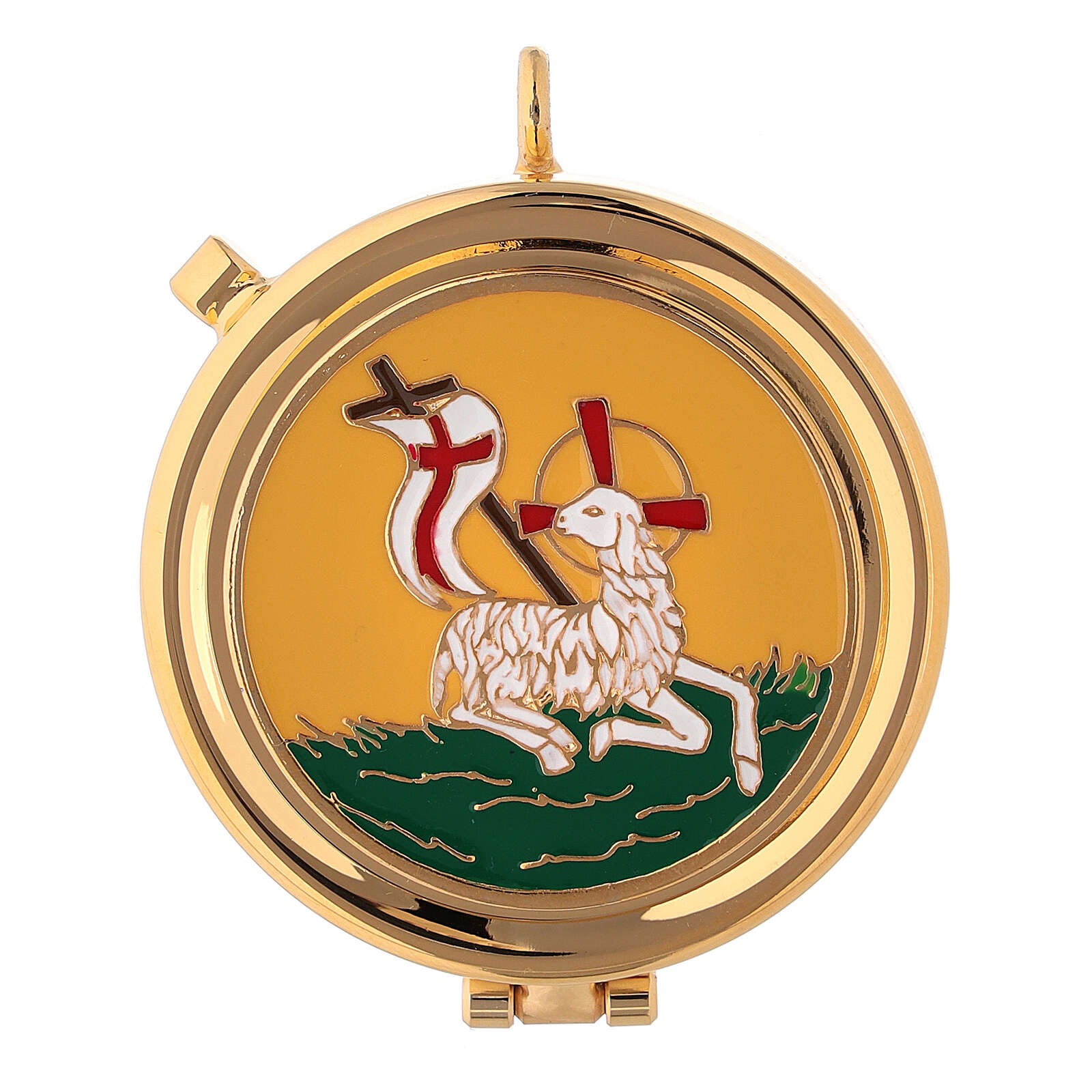Eucharist case in brass with enamel Lamb of Peace, yellow 5.3 cm 3
