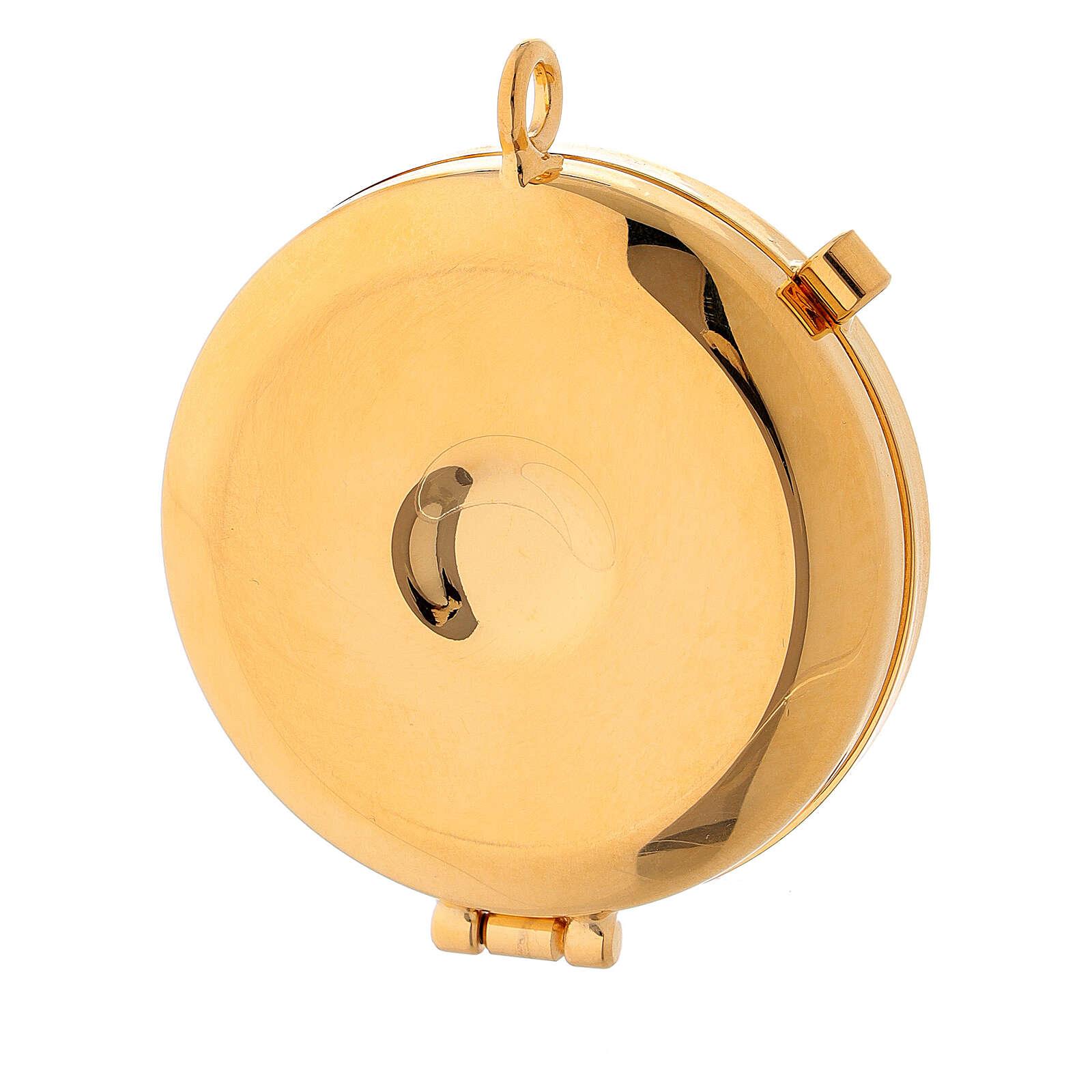 Custode à hosties dorée avec Agneau de la Paix émaillé jaune 5,3 cm 3