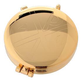 Relicario eucarístico dorado con incisión alfa y omega 5,3 cm s1