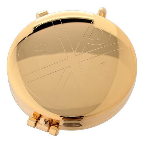 Relicario eucarístico dorado con incisión alfa y omega 5,3 cm 1