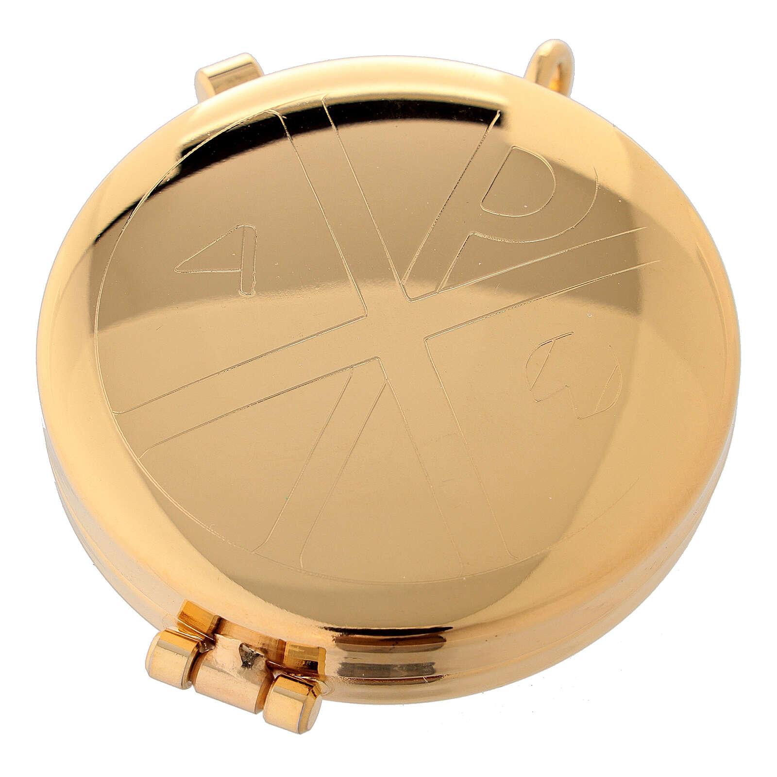 Custode à hosties dorée avec gravure alpha et oméga 5,3 cm 3