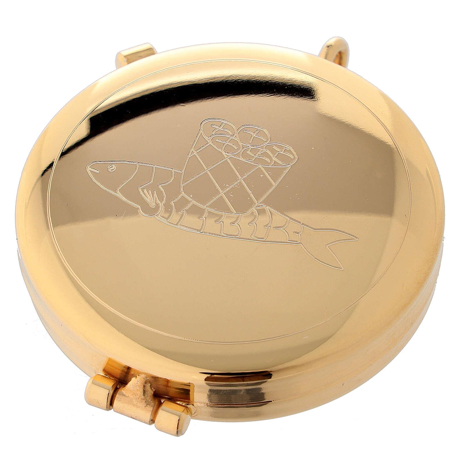 Teca eucaristica dorata con incisione pane e pesci 5,3 cm 3