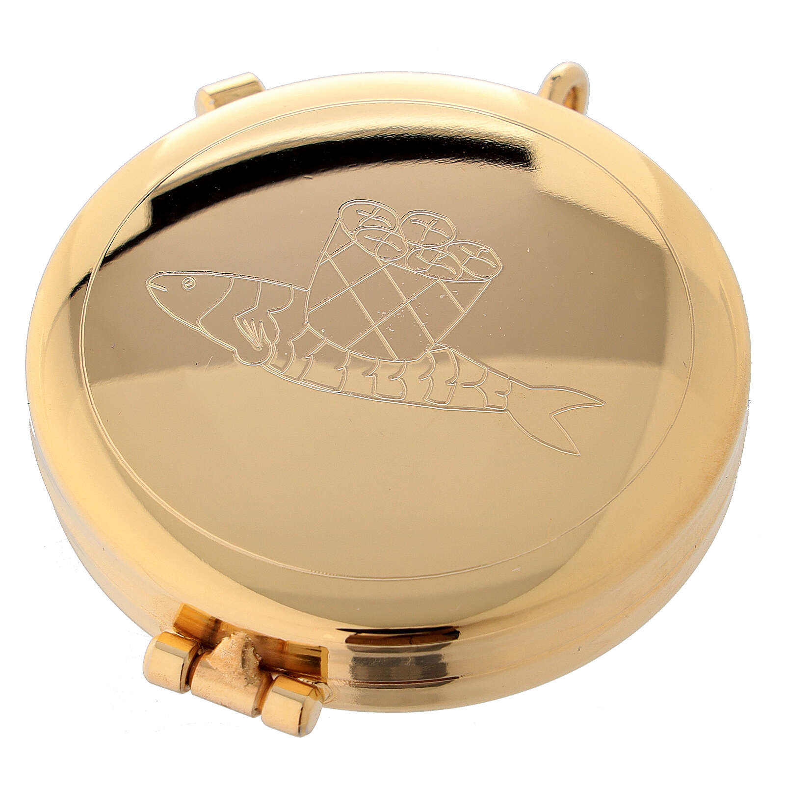 Gold plated pyx with loaves and fish engraving 2 in 3