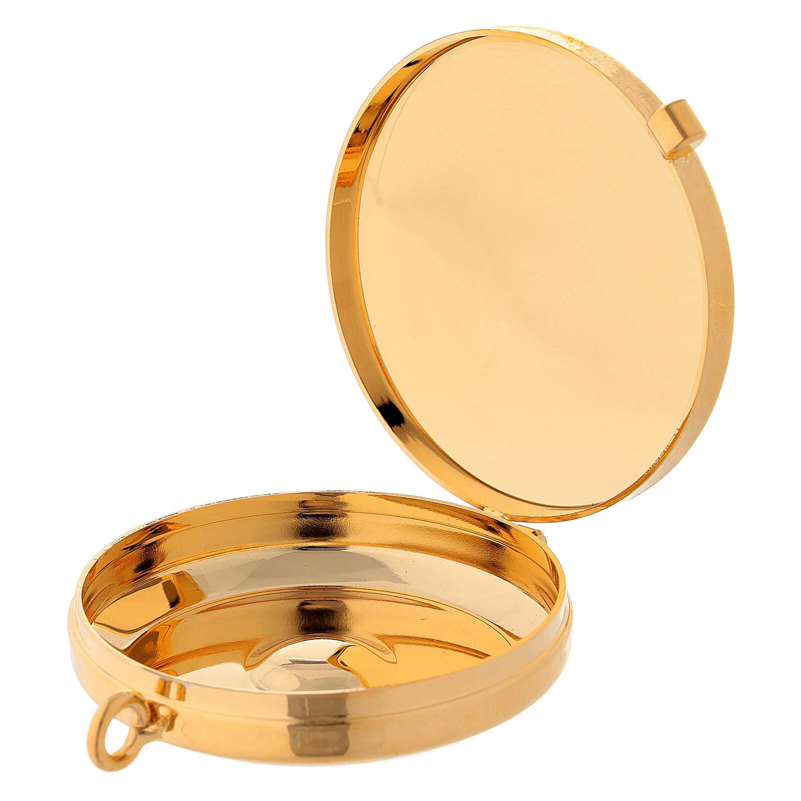 Eucharist case in golden brass with engraved Peace Lamb 5.3 cm 3