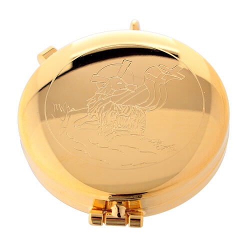 Eucharist case in golden brass with engraved Peace Lamb 5.3 cm 1