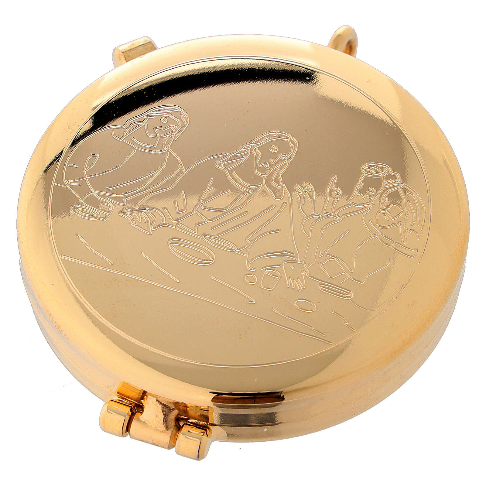 Eucharist case in golden brass with engraved Last Supper 5.3 cm 3