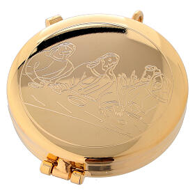 Eucharist case in golden brass with engraved Last Supper 5.3 cm s1