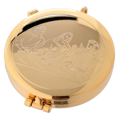 Eucharist case in golden brass with engraved Last Supper 5.3 cm 1
