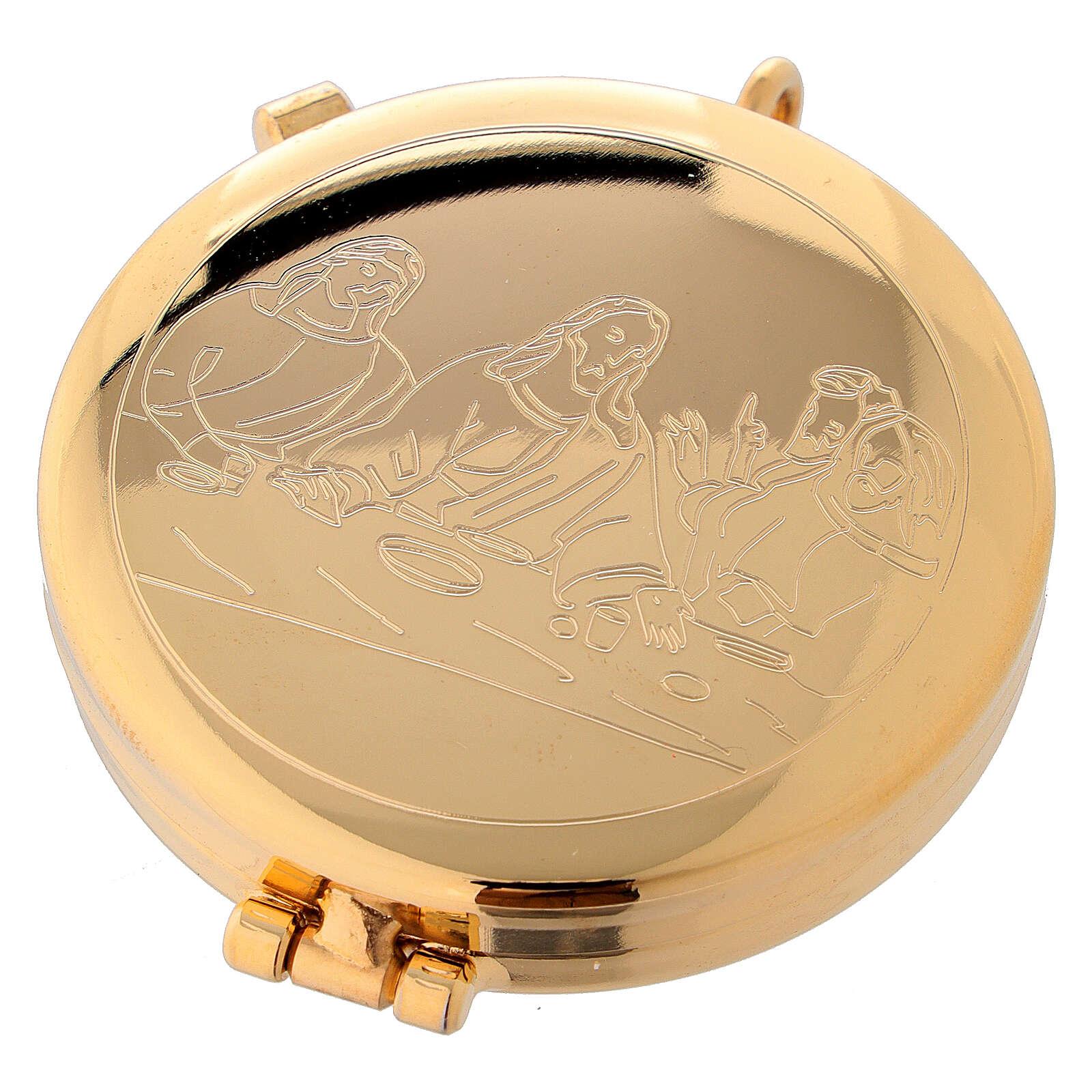 Custode à hosties dorée avec gravure Cène 5,3 cm 3