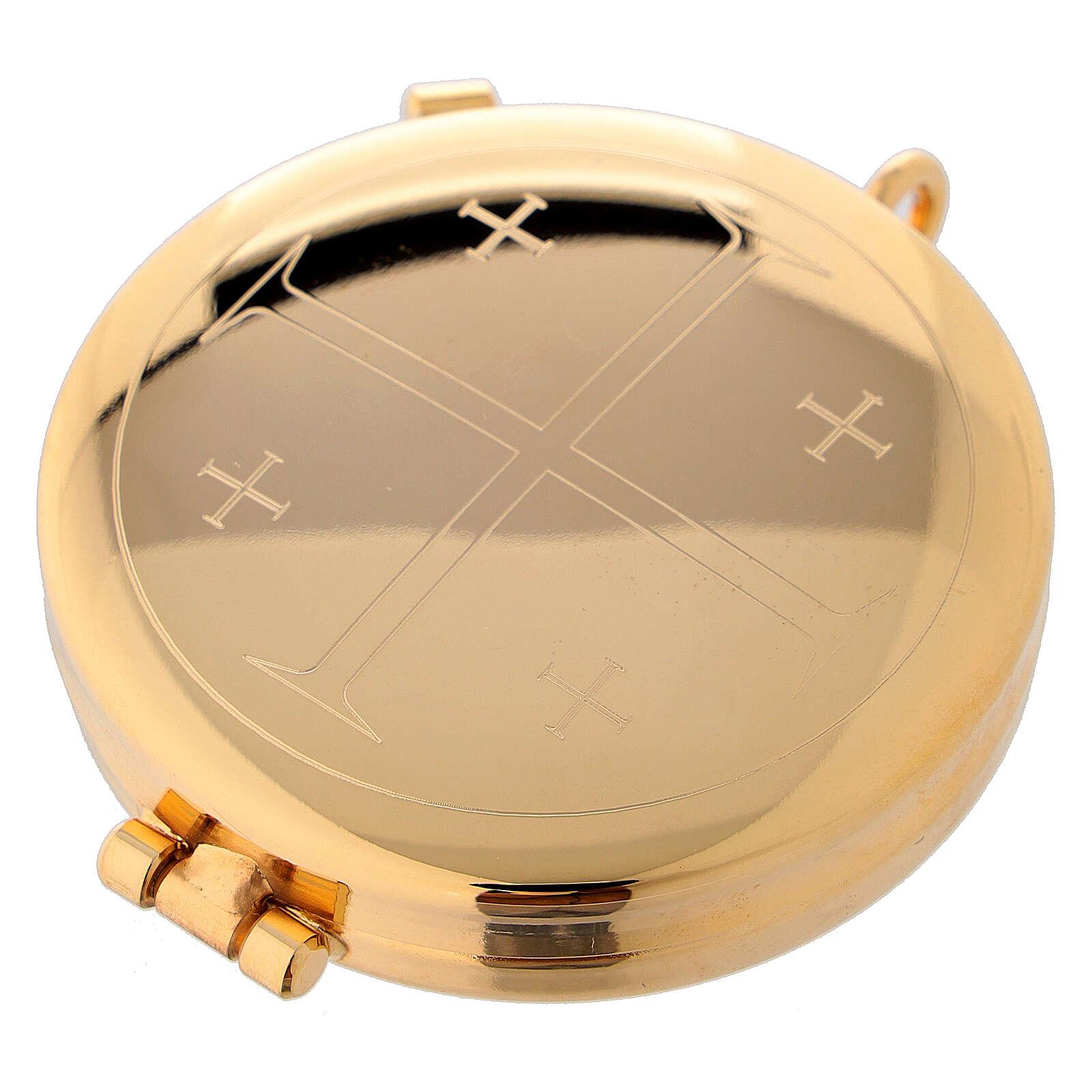Relicario eucarístico dorado con incisión Cruz con Jerusalén 5,3 cm 3