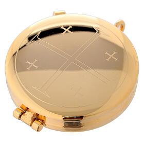 Relicario eucarístico dorado con incisión Cruz con Jerusalén 5,3 cm s1