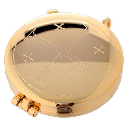 Teca eucaristica dorata con incisione Croce di Gerusalemme 5,3 cm 1