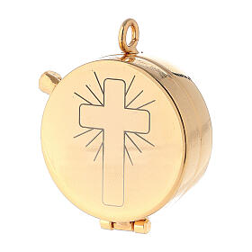 Eucharist case in golden brass with engraved cross 5.3 cm s1