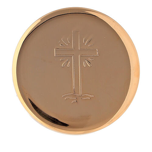 Host box with cross and rays diameter 5 cm in gold plated brass 1