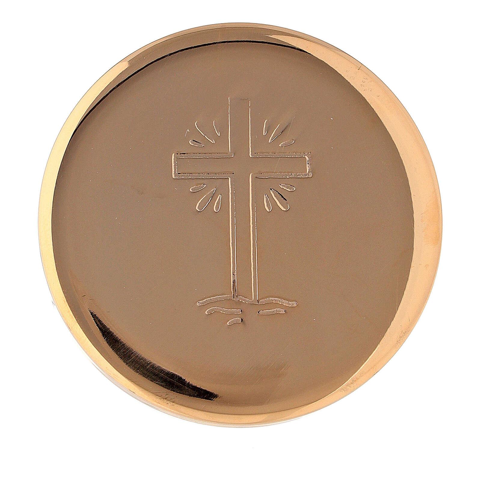 Teca eucaristica croce raggi diametro 5 cm ottone dorato 3