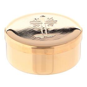 Caixa de hóstias cruz raios diâmetro 5 cm latão dourado s3