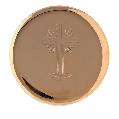 Caixa de hóstias cruz raios diâmetro 5 cm latão dourado 1