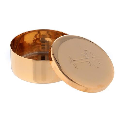 Caixa de hóstias cruz raios diâmetro 5 cm latão dourado 2