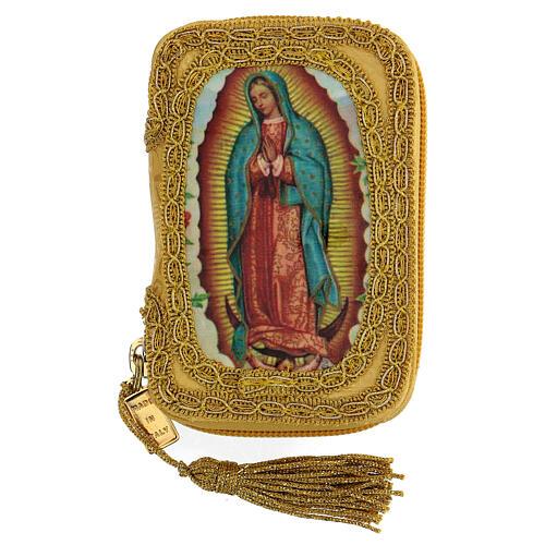 Estuche para viático Virgen Guadalupe color oro con relicario d. 5 cm 1