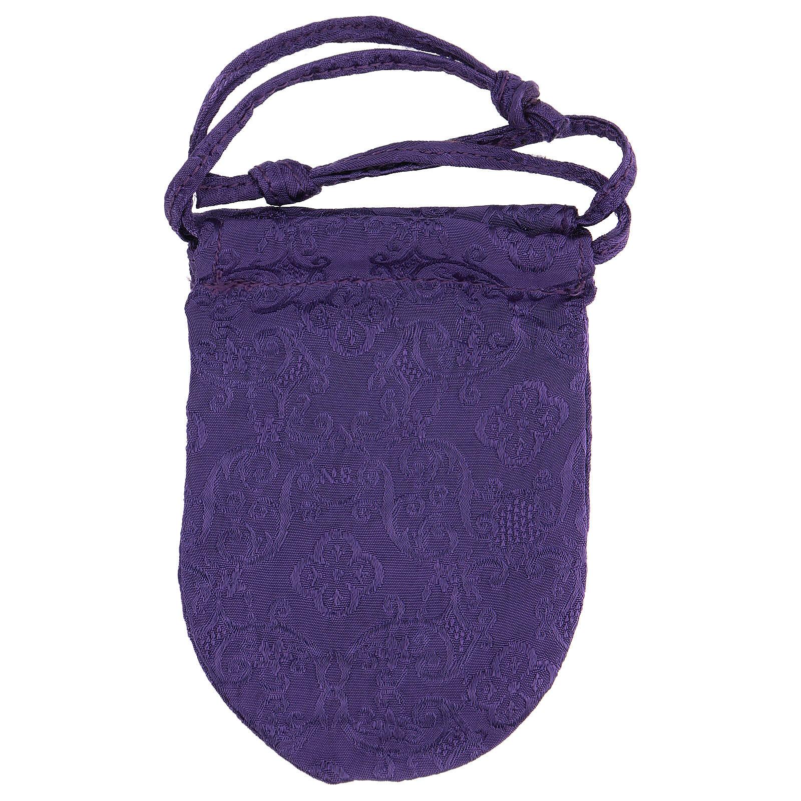 Bolsa relicario eucarístico de jacquard violeta d. 5 cm 3