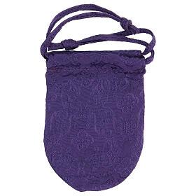 Bolsa relicario eucarístico de jacquard violeta d. 5 cm s6